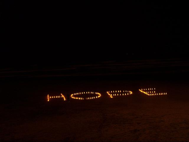 H-O-P-E spelled out at Ocean Beach San Francisco with 300 homemade lanterns