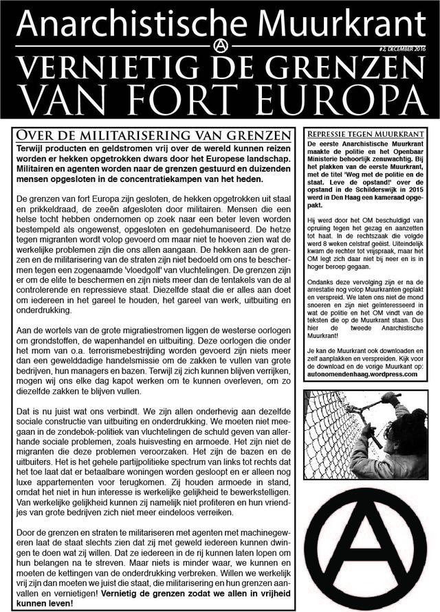 Ongekend Anarchistische Muurkrant #2 December 2016 is uit   IndyMedia AY-42