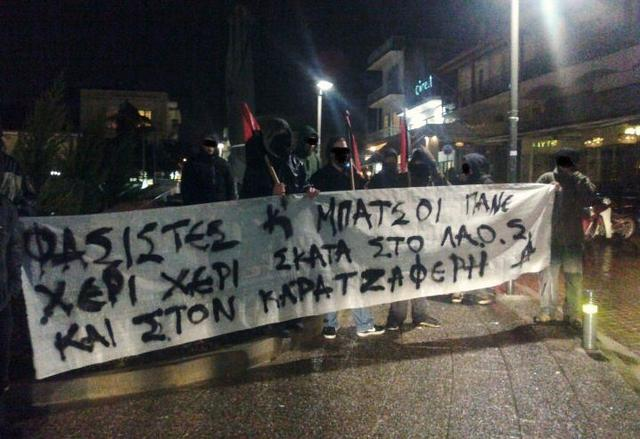 Antifascist intervention in Livadia; the banner reads 'Fascists and cops go hand