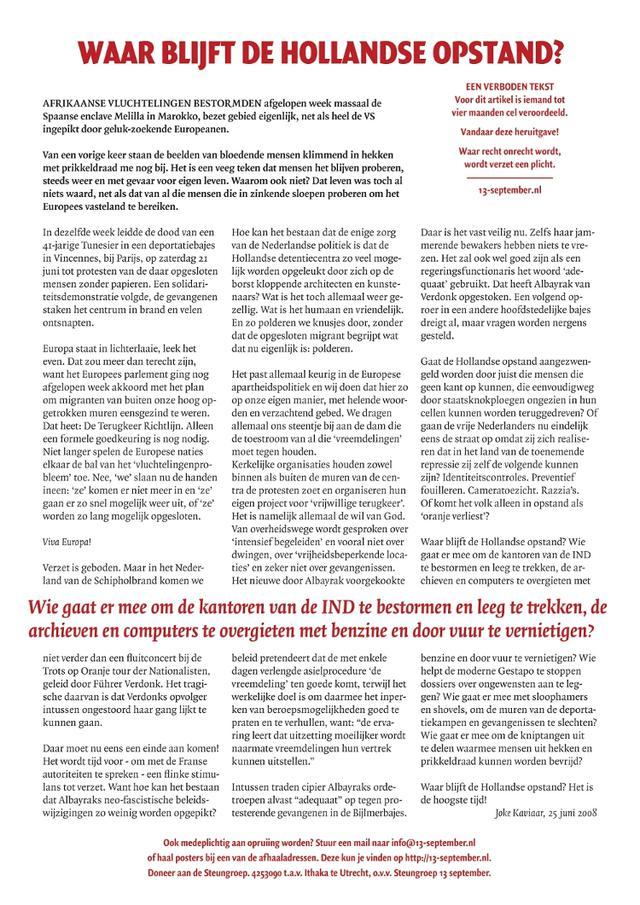 De eerste muurkrant: Waar blijft de Hollandse opstand?