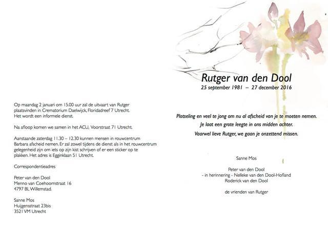 Rouwkaart Rutger Van Den Dool Indymedia